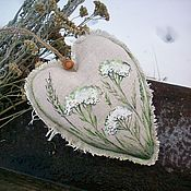 handmade. Livemaster - original item Scented heart with hand-painted yarrow aroma Mask. Handmade.