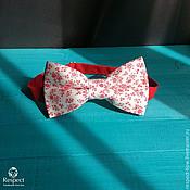 Аксессуары handmade. Livemaster - original item Tie Red flowers / white butterfly-tie, mil`fler. Handmade.