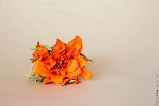 Броши ручной работы. Ярмарка Мастеров - ручная работа. Купить Брошь-заколка «Оранжевое настроение».. Handmade. Фоамиран, фоам эва