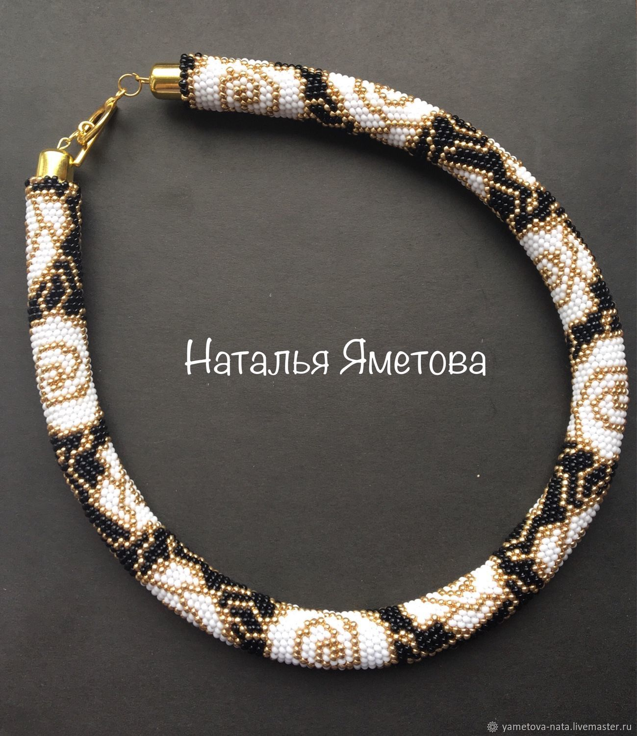 Harness beaded 'white roses', Necklace, Abakan,  Фото №1