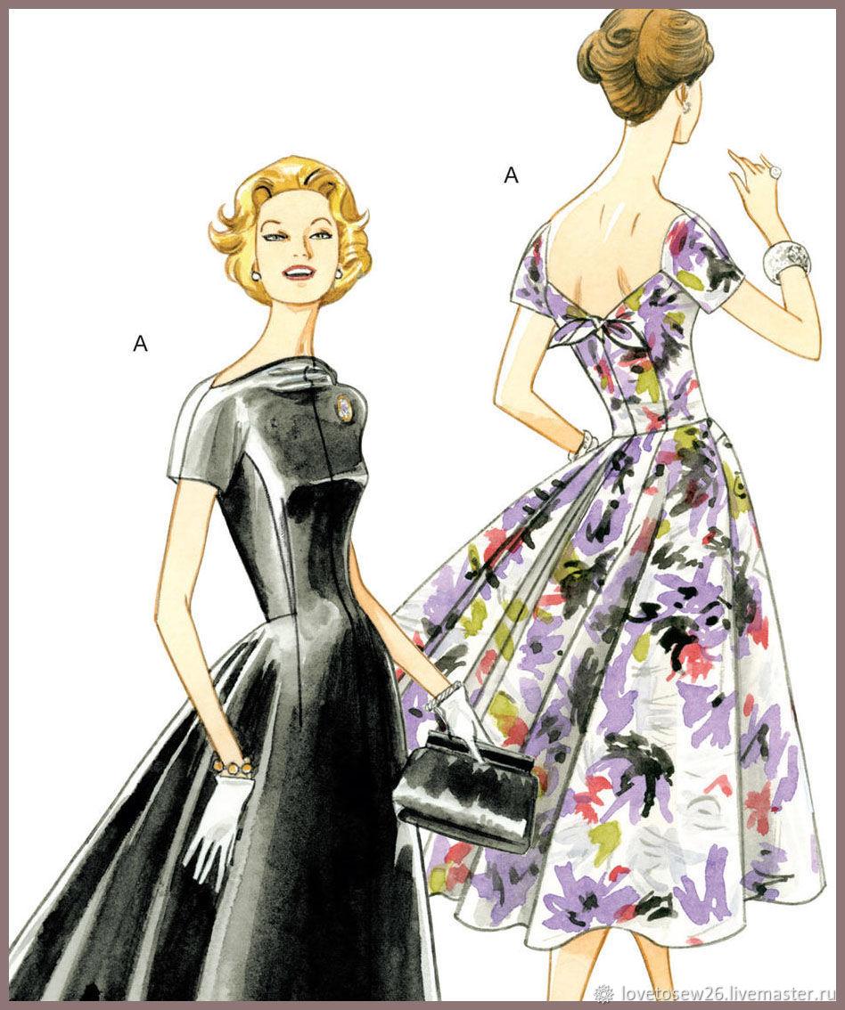V1084 Выкройка винтажного выходного вечернего платья 1956 г. VOGUE, Выкройки для шитья, Санкт-Петербург,  Фото №1