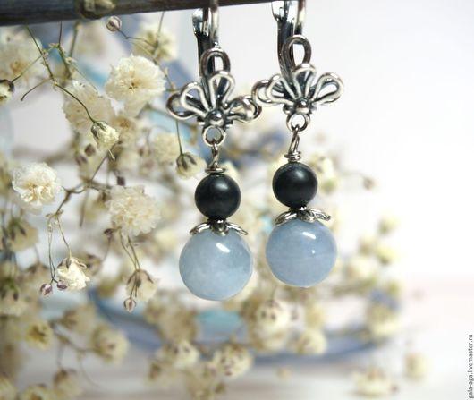 """Серьги ручной работы. Ярмарка Мастеров - ручная работа. Купить Серьги """"Голубой цветочек"""". Handmade. Голубой, весенний аксессуар"""