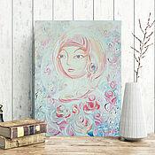 Картины и панно manualidades. Livemaster - hecho a mano La dama de las rosas, pintura al óleo. Retrato estilizado de la. Handmade.