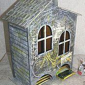 """Для дома и интерьера ручной работы. Ярмарка Мастеров - ручная работа Двойной чайный домик """"Я буду долго гнать велосипед..."""". Handmade."""