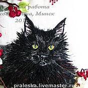 Картины и панно ручной работы. Ярмарка Мастеров - ручная работа подушка декоративная Черный кот с фуксией, вышивка по фото. Handmade.