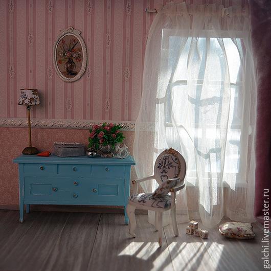 Кукольный дом ручной работы. Ярмарка Мастеров - ручная работа. Купить Румбокс со стулом. Handmade. Бледно-розовый