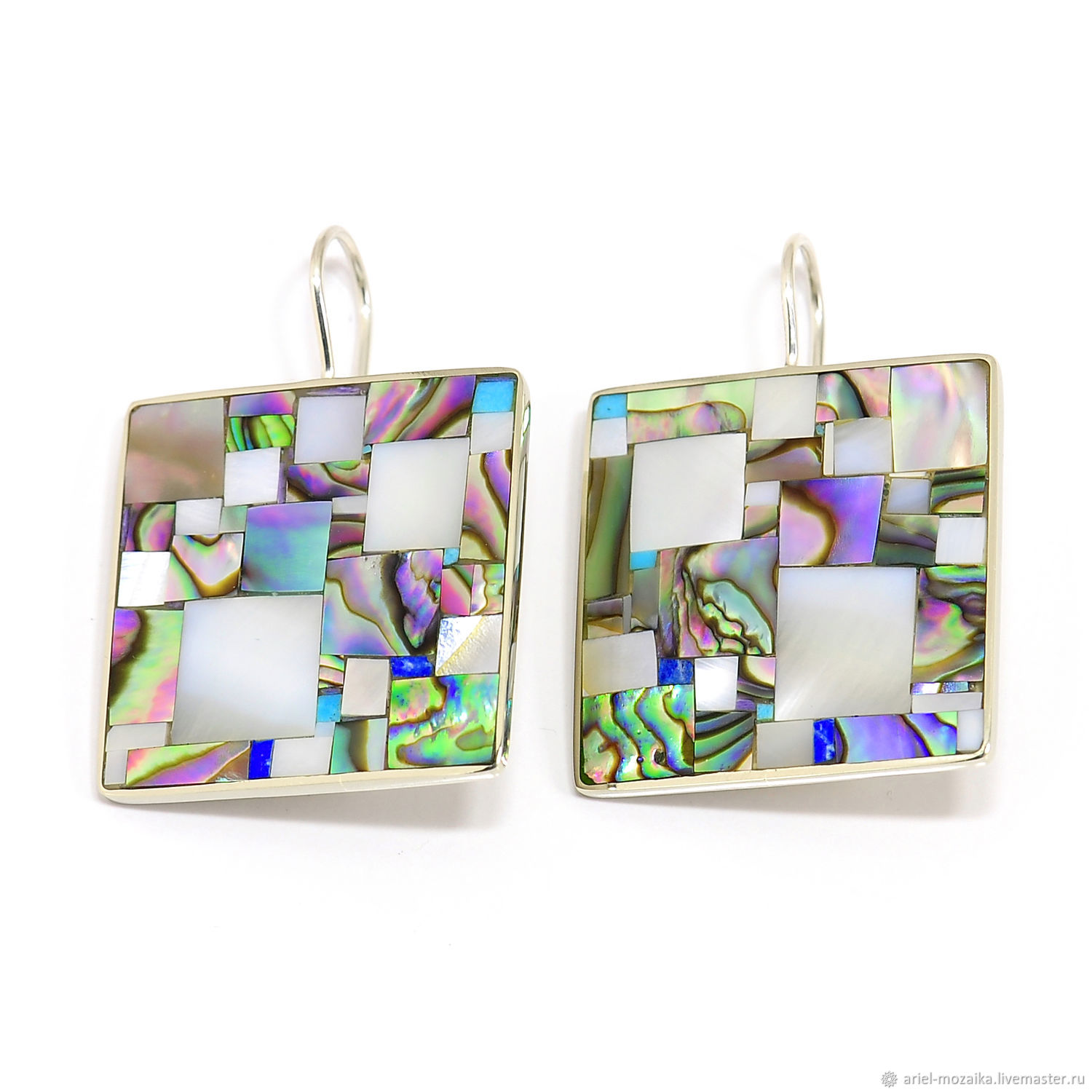 EARRINGS `Pearl mosaic` ARIEL - Alena - MOSAIC (Moscow) earring with mother of pearl Earrings with turquoise Earrings with lapis lazuli Earrings large
