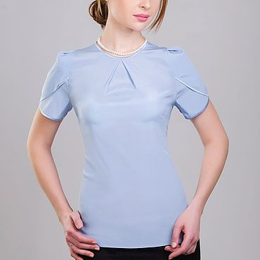 """Одежда ручной работы. Ярмарка Мастеров - ручная работа Шелковая блузка """"Нежно-голубая"""". Handmade."""