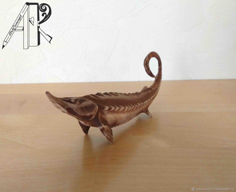 Figurine of wood carved miniature Sturgeon. Christmas toy wooden, Figurines, Ryazan,  Фото №1