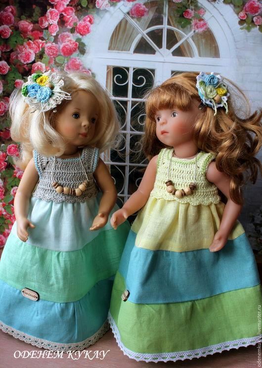 """Одежда для кукол ручной работы. Ярмарка Мастеров - ручная работа. Купить Льняное платье """"Триколор"""". Handmade. Платье для куклы"""
