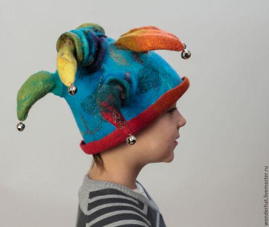 """Шляпы ручной работы. Ярмарка Мастеров - ручная работа. Купить Шапка """"Веселый скоморох"""". Handmade. Тёмно-бирюзовый, шапка детская"""