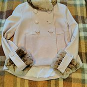 Одежда ручной работы. Ярмарка Мастеров - ручная работа Полупальто с отделкой мехом. Handmade.