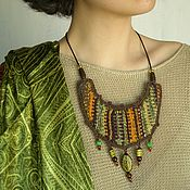 Украшения handmade. Livemaster - original item Necklace woven Striped gooseberry. Handmade.