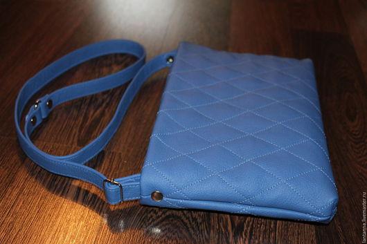 Женские сумки ручной работы. Ярмарка Мастеров - ручная работа. Купить Небольшая стеганая сумка из кожи. Handmade. Синий
