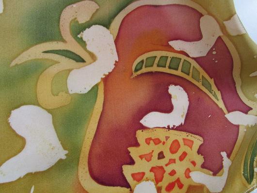 Шарфы и шарфики ручной работы. Ярмарка Мастеров - ручная работа. Купить Батик шарф Гранаты, Натуральный шелк 100%. Handmade.