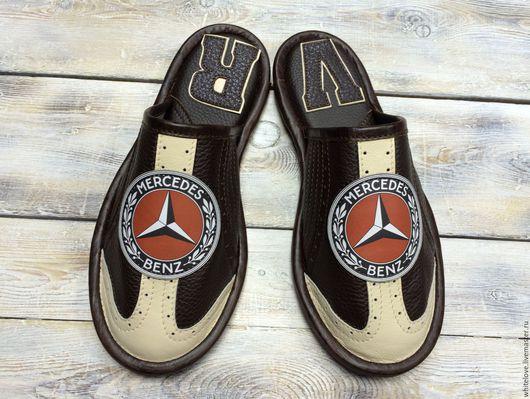 """Обувь ручной работы. Ярмарка Мастеров - ручная работа. Купить Кожаные тапочки """" Мерседес-2"""". Handmade. Коричневый"""