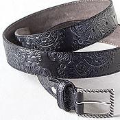 Аксессуары handmade. Livemaster - original item Black Gray Leather Belt for Women, 3.4 cm wide. Handmade.