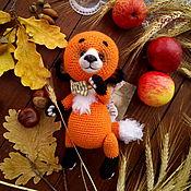 Куклы и игрушки ручной работы. Ярмарка Мастеров - ручная работа Лисенок, вязаный тедди, рыжий лис игрушка, лисичка в бабочке, лиса. Handmade.