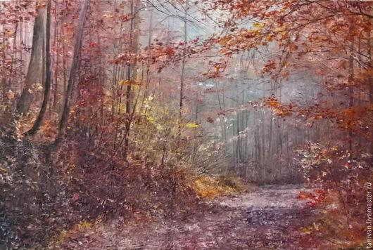"""Пейзаж ручной работы. Ярмарка Мастеров - ручная работа. Купить живопись """" Рубиновая Осень"""". Handmade. Комбинированный, осень"""