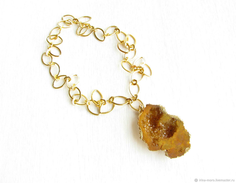 Mustard pendant 'autumn Color' agate pendant with Druze, Pendants, Moscow,  Фото №1
