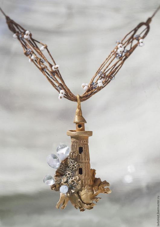 Свадебные украшения ручной работы. Ярмарка Мастеров - ручная работа. Купить Кулон Маяк в свадебных цветах. Handmade. Metalclay, стекло