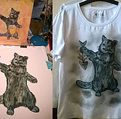 Одежда handmade. Livemaster - original item T-shirt with the painting on the basis of the drawing. Handmade.