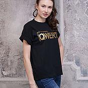 Футболки ручной работы. Ярмарка Мастеров - ручная работа Красивая женская футболка QWERTY, стильная черная футболка oversize. Handmade.