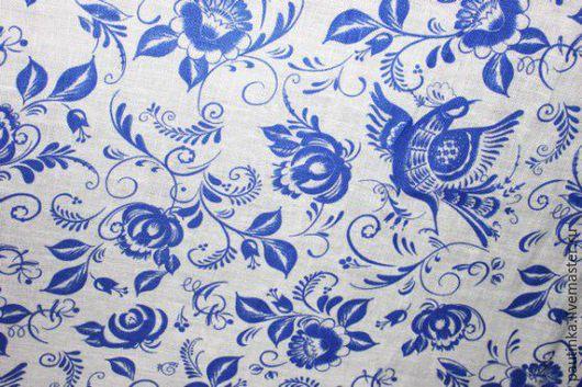 """Шитье ручной работы. Ярмарка Мастеров - ручная работа. Купить Ткань """"Гжель"""" на белом. Handmade. Синий, хлопколен, занавески, лён"""