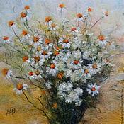 Картины и панно ручной работы. Ярмарка Мастеров - ручная работа Июльские ромашки, картина шерстью. Handmade.