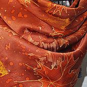 """Аксессуары ручной работы. Ярмарка Мастеров - ручная работа Батик-платок золотисто-коричневый """"Осенний блюз"""". Handmade."""