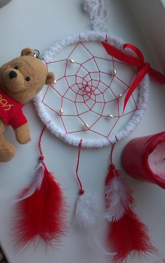 """Ловцы снов ручной работы. Ярмарка Мастеров - ручная работа. Купить Ловец снов """"Настроение Рождества"""". Handmade. Красно-белый"""