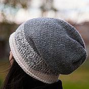Аксессуары ручной работы. Ярмарка Мастеров - ручная работа Шапка вязаная бини, шапка носок, шапка чулок (серый, белый, черный). Handmade.