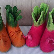 Обувь ручной работы. Ярмарка Мастеров - ручная работа домашняя обувь валенки морковка и редиска. Handmade.