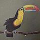 """Животные ручной работы. Ярмарка Мастеров - ручная работа. Купить Картина пастелью """"Радужный тукан"""". Handmade. Болотный, радуга, пастель"""