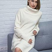 Платья ручной работы. Ярмарка Мастеров - ручная работа Платья: Теплое вязаное платье свитер Caprice. Handmade.
