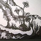Картины и панно ручной работы. Ярмарка Мастеров - ручная работа Дерево Души Черно-Белая Графика Сказка Черный Белый. Handmade.