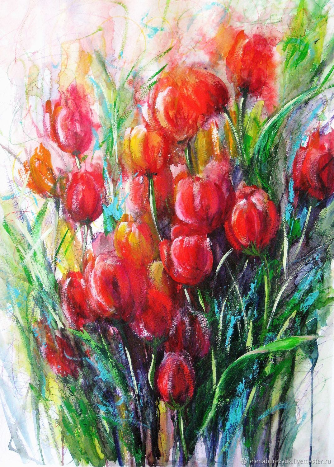 Painting watercolor tulips red flowers beautiful painting in the flower paintings handmade livemaster handmade buy painting watercolor tulips red flowers beautiful painting izmirmasajfo