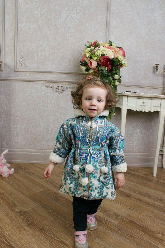 Верхняя одежда ручной работы. Ярмарка Мастеров - ручная работа. Купить Детское пальто из павловопосадского платка Весенний ручеек. Handmade.
