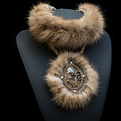 Украшения handmade. Livemaster - original item Necklace stand with mink fur