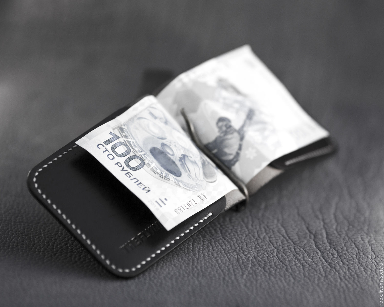 Wallet with money clip (money clip wallet) leather Horween – shop ...