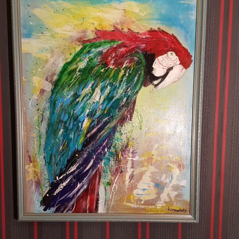Картина в раме «Мудрый попугай» холст акрил 60/80 см, Картины, Минск,  Фото №1