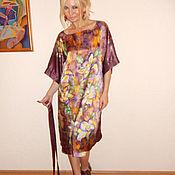 Одежда ручной работы. Ярмарка Мастеров - ручная работа платье-кимоно- Лилии в шоколаде. Handmade.