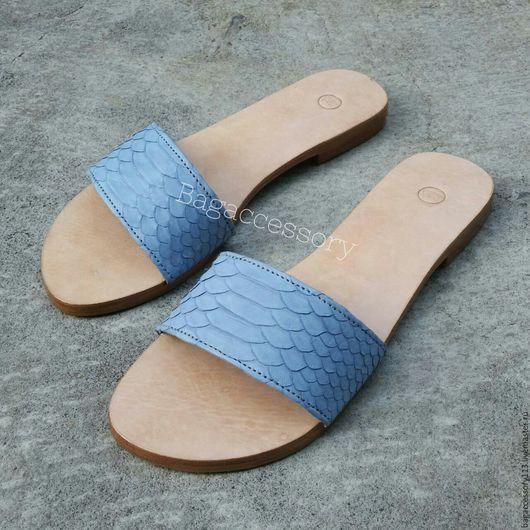 Обувь ручной работы. Ярмарка Мастеров - ручная работа. Купить Шлепанцы из натуральной кожи питона. Handmade. Комбинированный, шлепанцы в наличии