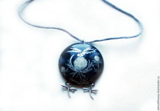 кулон подвеска Стрекоза оригинальное украшение роспись украшение с росписью