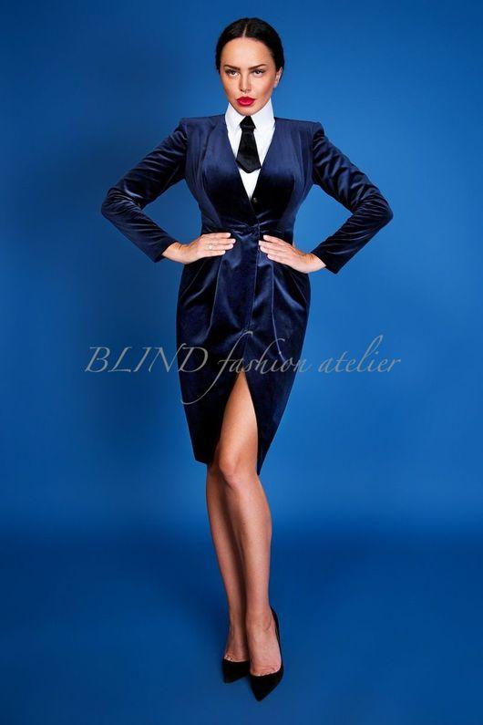 Платья ручной работы. Ярмарка Мастеров - ручная работа. Купить Платье из бархата 00258. Handmade. Тёмно-синий, blind