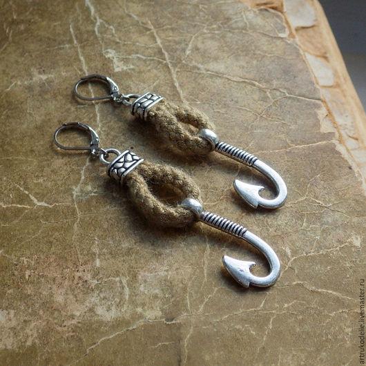 Серьги ручной работы. Ярмарка Мастеров - ручная работа. Купить Серьги Крюк Маори, подвеска амулет рыболовный крюк. Handmade.