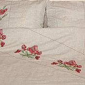 Для дома и интерьера ручной работы. Ярмарка Мастеров - ручная работа Комплект постельный льняной -красные маки. Handmade.