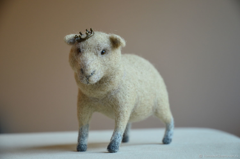 felt toy: A sheep with a crown, Felted Toy, Heidelberg,  Фото №1