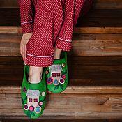 Тапочки ручной работы. Ярмарка Мастеров - ручная работа Тапочки «Сочная зелень». Handmade.
