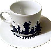 """Чайные пары ручной работы. Ярмарка Мастеров - ручная работа Кофейная пара """"Волшебный город"""" (0176). Handmade."""